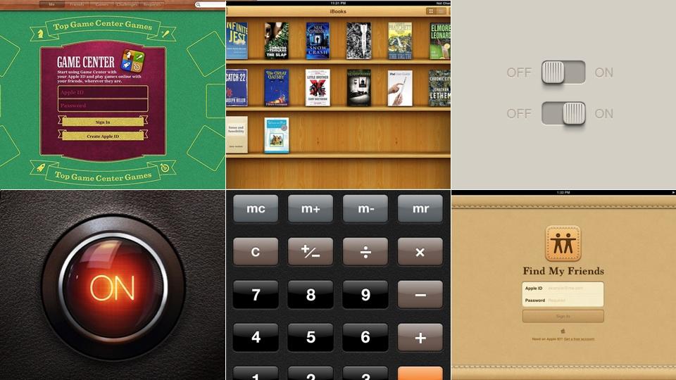 Exemples d'interfaces hyperréalistes des apps d'Apple