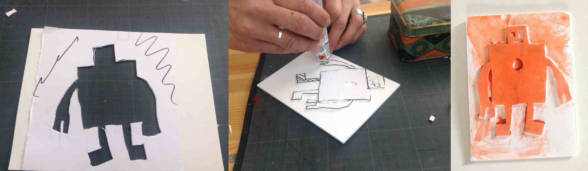 Étapes de création du tampon en forme de robot...