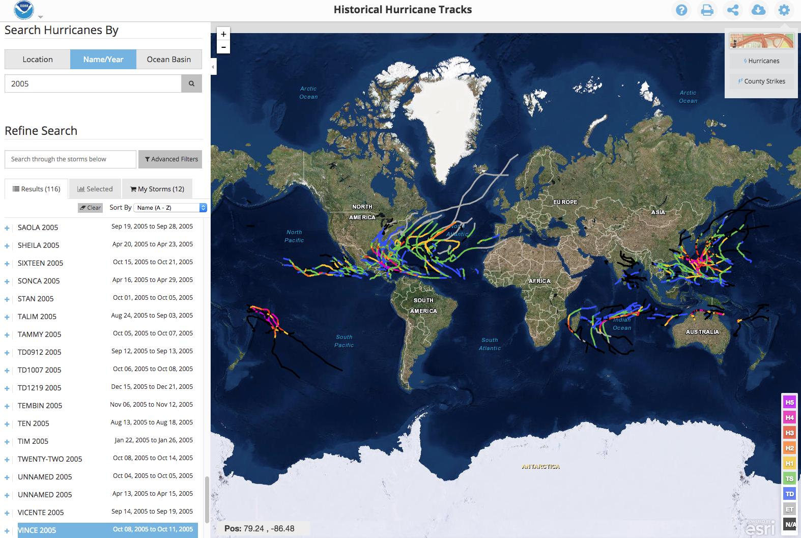 Plan interactif des ouragans mondiaux du NOAA